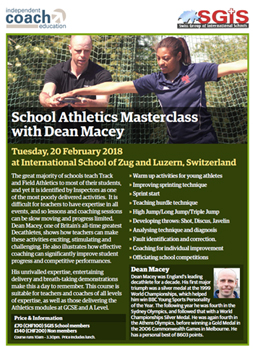 School Athletics Masterclass with Dean Macey